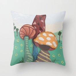 Doodled Mushroom Trio Landscape Throw Pillow