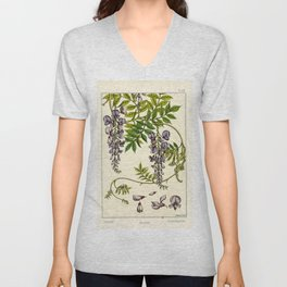 French botanical flower plate - Maurice Verneuil - Glycine Unisex V-Neck