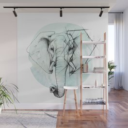 Elephant sketch // Aqua Blue Wall Mural