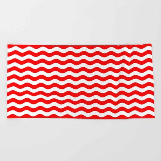 Wavy Stripes (Red/White) Beach Towel