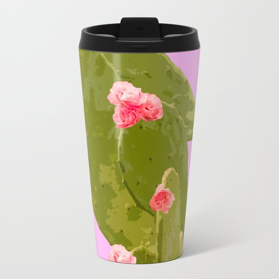 Green cactus with pink flowers on a bright pink background - summer mood Metal Travel Mug