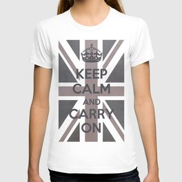 Keep Calm and Carry On UK - Purple/Grey T-shirt