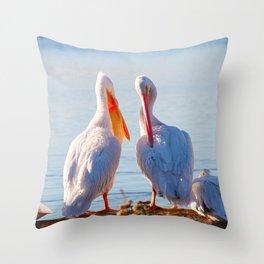 Pelican Wooing III Throw Pillow