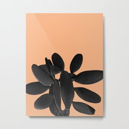 Black Pastel Orange Cacti Vibes #1 #plant #decor #art #society6 Metal Print