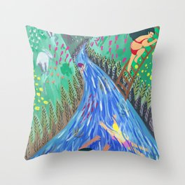 River vacation Throw Pillow
