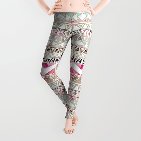 Aztec Spring Time! | Girly Pink White Floral Abstract Aztec Pattern Leggings