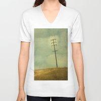 olivia joy V-neck T-shirts featuring The Joy Of Division by Honey Malek