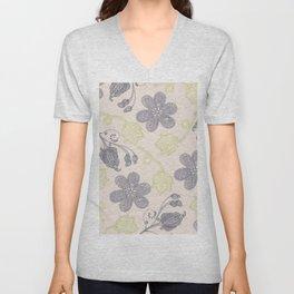 Modern vintage mint green ivory gray floral Unisex V-Neck