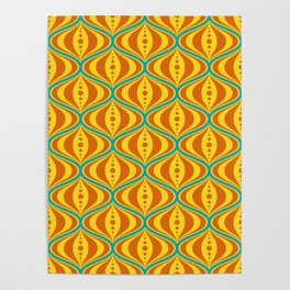 Retro Psychedelic Saucer Pattern in Orange, Yellow, Turquoise Poster