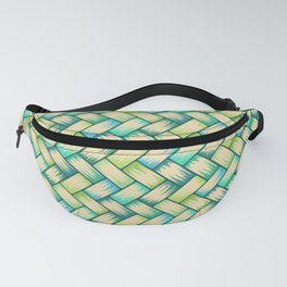 Blue Green Palm Weave Horizontal Fanny Pack