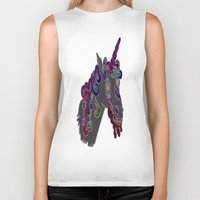 trippy Biker Tanks featuring trippy unicorn by Dal Sohal
