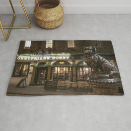 Bobby Greyfriars dog statue at night Edinburgh Scotland pub Rug