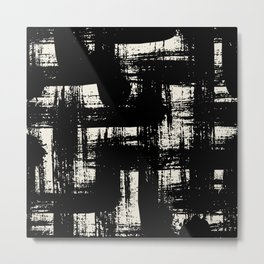 Black and white design with bold brushstrokes Metal Print