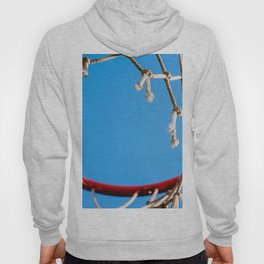 Red Basketball Rim, White Old Rope, Blue Sky Hoody