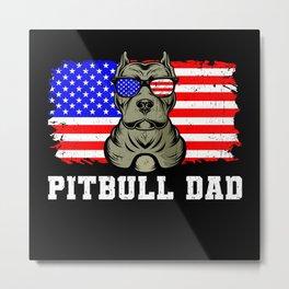 Pitbull Dad Gift Metal Print
