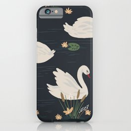 Swan Pond Dark Water Lily Pad Lotus Flowers iPhone Case