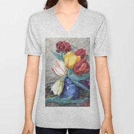 Hendrik Willem Mesdag - Tulips in a vase - Digital Remastered Edition Unisex V-Neck