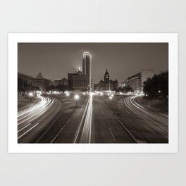 Dallas Dealey Plaza Skyline - Texas - Sepia Art Print