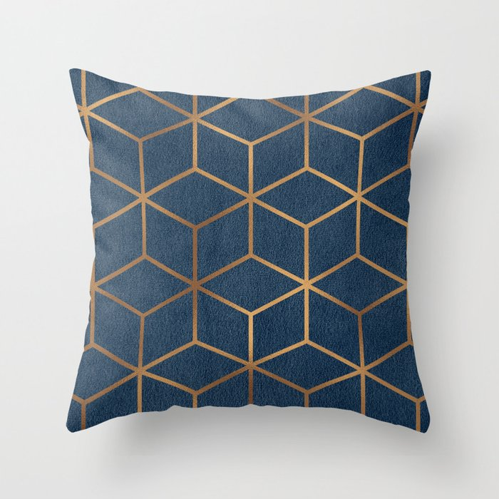 Dark Blue and Gold   Geometric Textured Cube Design Throw Pillow