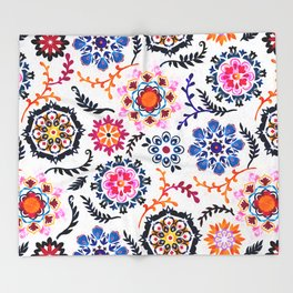 Happy Color Suzani Inspired Pattern Throw Blanket