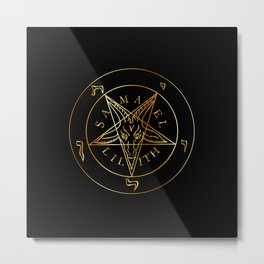 Wiccan symbol golden Sigil of Baphomet- Satanic god occult symbol Metal Print