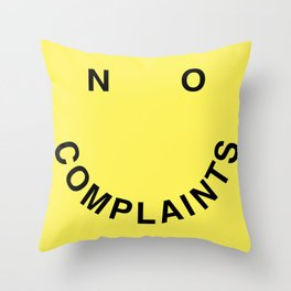 No Complaints Yellow + Black Throw Pillow