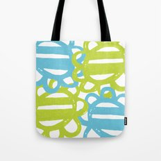 Fun Flowers Large blue green Tote Bag