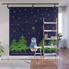 Sparkly gold stars, snowman and green tree Wall Mural