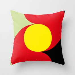 This is a sun splitting the sky in two sides, one black, one green. Spitting deep red round rays. Throw Pillow