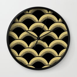 Japanese Fish scales Black and Gold Wall Clock