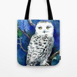Snowy Owl, Northern Owl, White Owl, Owl art Winter woodland Tote Bag