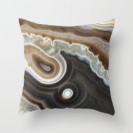 Mocha agate geode 3287 Throw Pillow