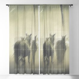 Wild Horses Night Ride Through New England Wilderness Landscape by Jeanpaul Ferro Sheer Curtain