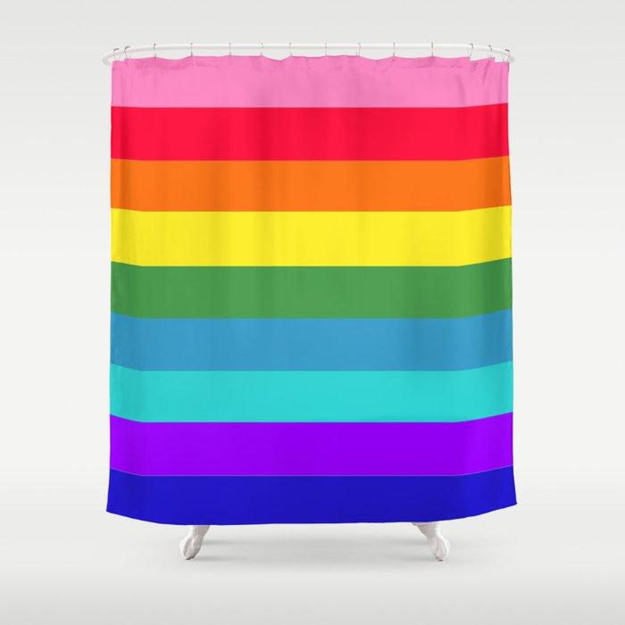 Vibrant Rainbow Stripes Shower Curtain