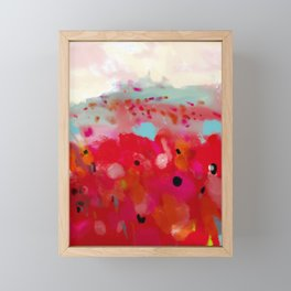 red poppies field abstract Framed Mini Art Print