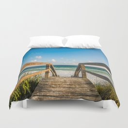Head to the Beach - Boardwalk Leads to Summer Fun in Florida Duvet Cover