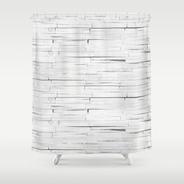 White Wooden Planks Wall Shower Curtain