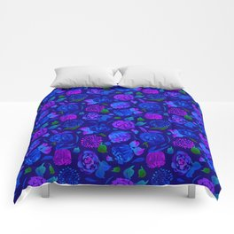 Watercolor Floral Garden in Electric Blue Bonnet Comforters