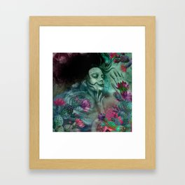 """Sirena between pastel cactus flowers"" Framed Art Print"