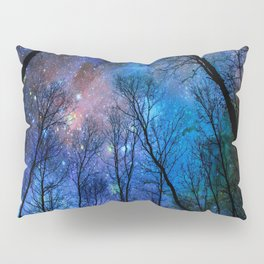 Black Trees Dark Blue Space Pillow Sham