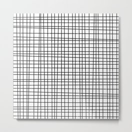 Hand drawn Grid Pattern-Black on White-Mix & Match with Simplicity  of life Metal Print