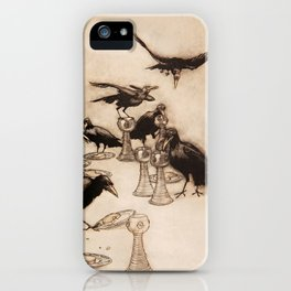 """""""The Seven Ravens"""" by Arthur Rackham From The Grimm Brothers iPhone Case"""