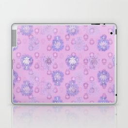 Lotus flower - pink and light blue woodblock print style pattern Laptop & iPad Skin