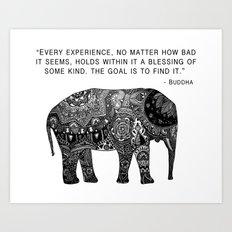 Buddha Quote with Henna Elephant Art Print