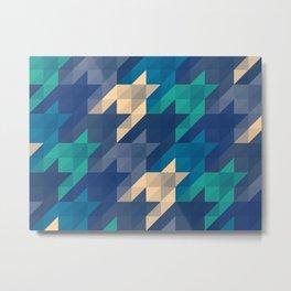 Origami houndstooth blues Metal Print