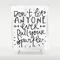 sparkle Shower Curtains featuring Sparkle by Tinta Caramelo