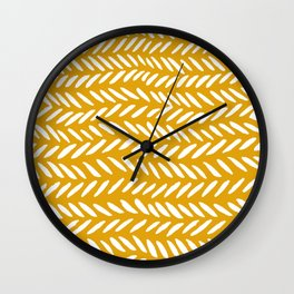 Knitting pattern - white on ochre Wall Clock