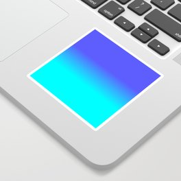 Neon Blue and Bright Neon Aqua Ombré Shade Color Fade Sticker