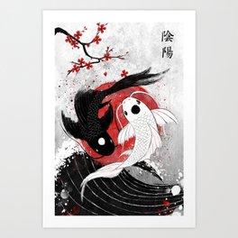Koi fish - Yin Yang Art Print