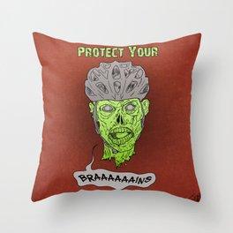 Zombie Brains Throw Pillow